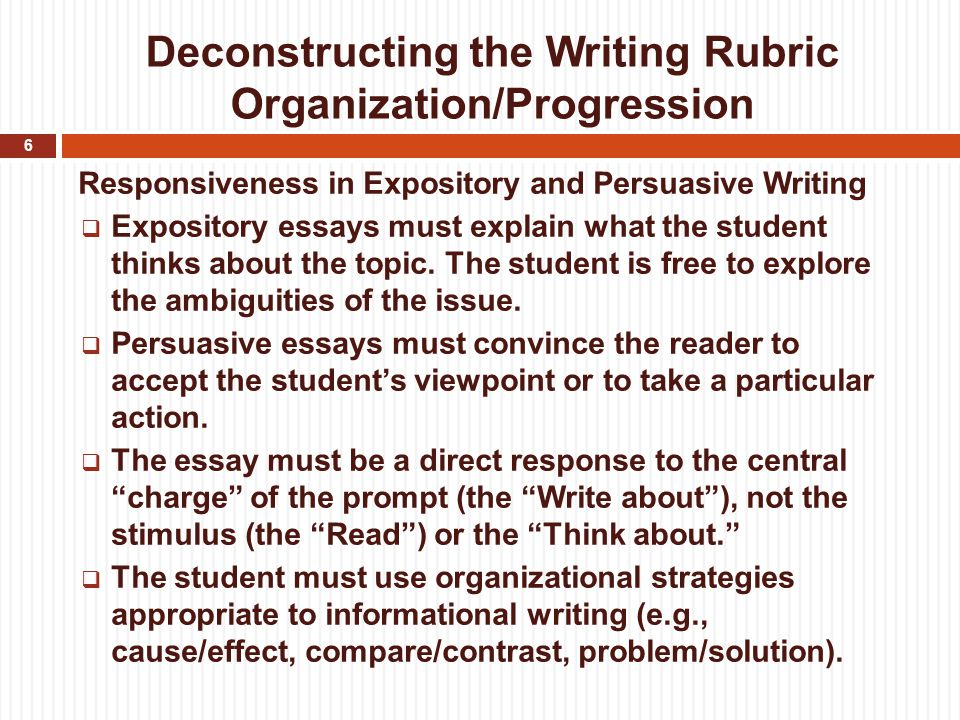 cahsee writing rubric This is an adapted rubric, and is to be used with the writing a rubric assignment which calls for a precise statement of essential and sub points with the omission of examples and supporting details.