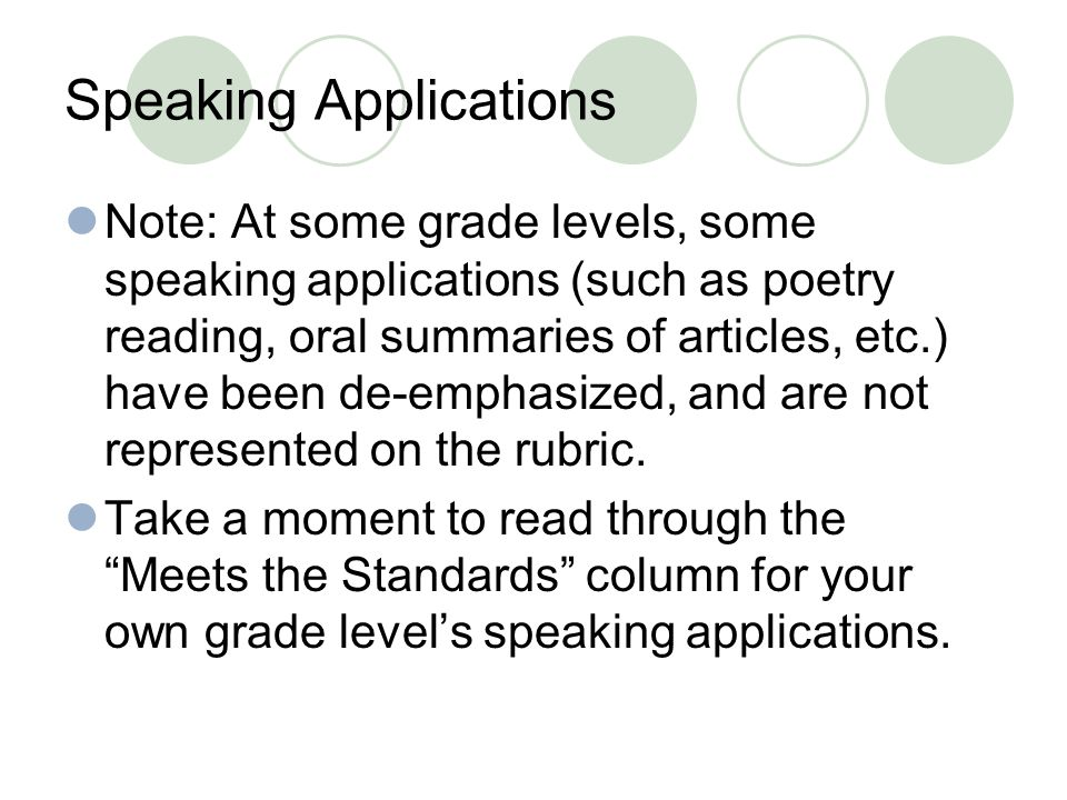 Speaking Applications Note: At some grade levels, some speaking applications (such as poetry reading, oral summaries of articles, etc.) have been de-emphasized, and are not represented on the rubric.