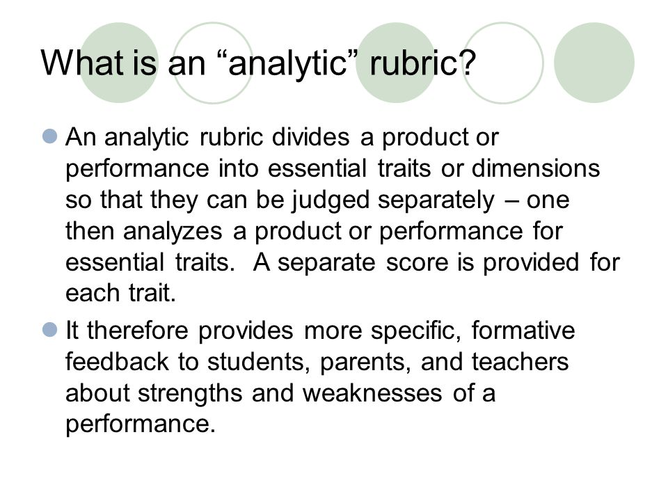 What is an analytic rubric.