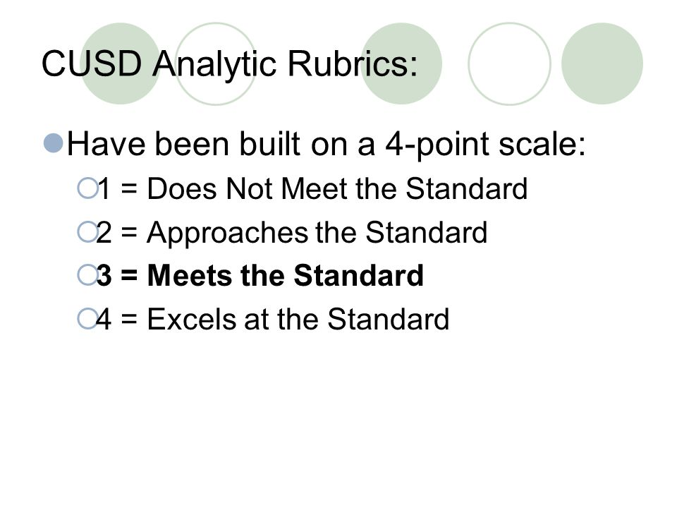 CUSD Analytic Rubrics: Have been built on a 4-point scale:  1 = Does Not Meet the Standard  2 = Approaches the Standard  3 = Meets the Standard  4 = Excels at the Standard