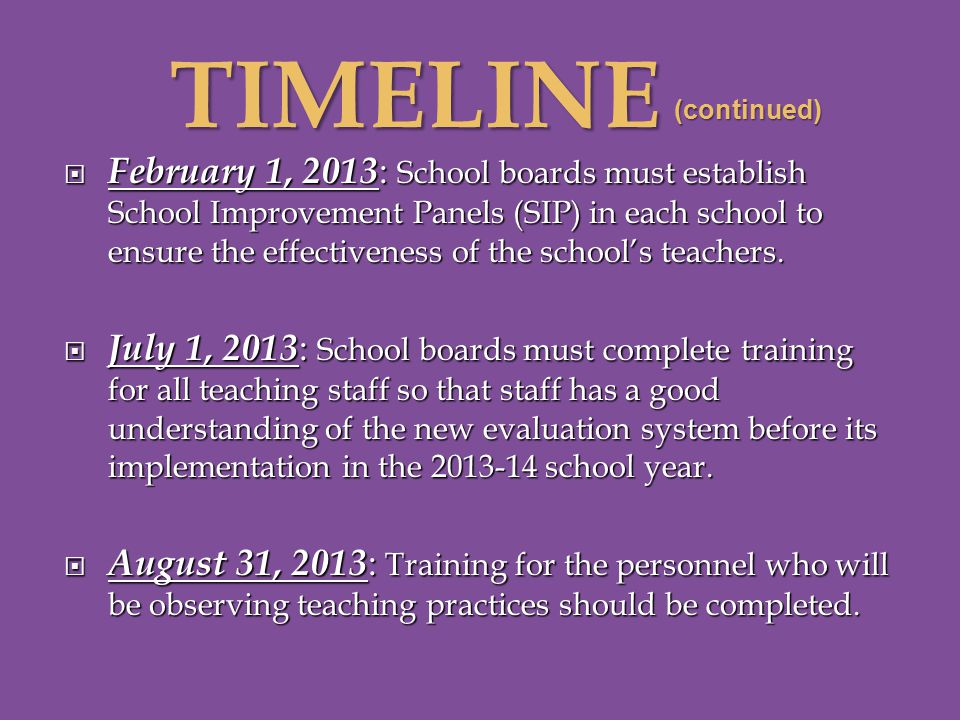 (continued)  February 1, 2013 : School boards must establish School Improvement Panels (SIP) in each school to ensure the effectiveness of the school's teachers.