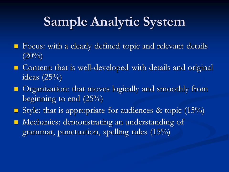 Sample Analytic System Focus: with a clearly defined topic and relevant details (20%) Focus: with a clearly defined topic and relevant details (20%) Content: that is well-developed with details and original ideas (25%) Content: that is well-developed with details and original ideas (25%) Organization: that moves logically and smoothly from beginning to end (25%) Organization: that moves logically and smoothly from beginning to end (25%) Style: that is appropriate for audiences & topic (15%) Style: that is appropriate for audiences & topic (15%) Mechanics: demonstrating an understanding of grammar, punctuation, spelling rules (15%) Mechanics: demonstrating an understanding of grammar, punctuation, spelling rules (15%)