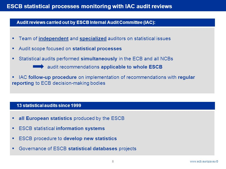 Rubric   © 8 ESCB statistical processes monitoring with IAC audit reviews Audit reviews carried out by ESCB Internal Audit Committee (IAC):  Team of independent and specialized auditors on statistical issues  Audit scope focused on statistical processes  Statistical audits performed simultaneously in the ECB and all NCBs audit recommendations applicable to whole ESCB  IAC follow-up procedure on implementation of recommendations with regular reporting to ECB decision-making bodies 13 statistical audits since 1999  all European statistics produced by the ESCB  ESCB statistical information systems  ESCB procedure to develop new statistics  Governance of ESCB statistical databases projects