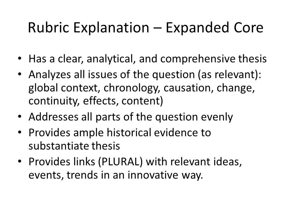 chronological essay rubric