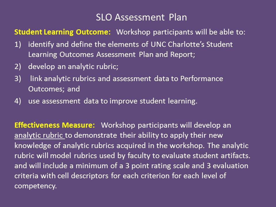 SLO Assessment Plan Student Learning Outcome: Workshop participants will be able to: 1)identify and define the elements of UNC Charlotte's Student Learning Outcomes Assessment Plan and Report; 2)develop an analytic rubric; 3) link analytic rubrics and assessment data to Performance Outcomes; and 4)use assessment data to improve student learning.