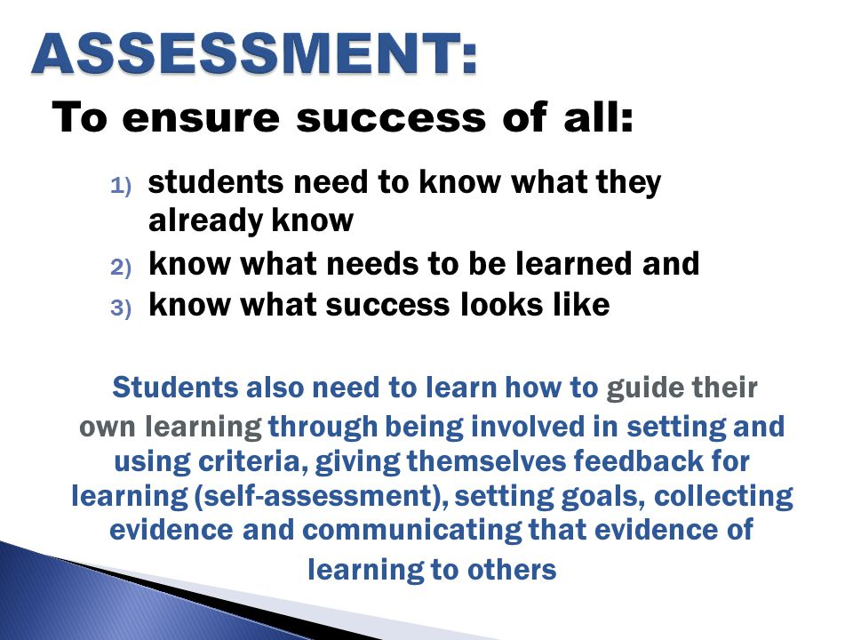To ensure success of all: 1) students need to know what they already know 2) know what needs to be learned and 3) know what success looks like Students also need to learn how to guide their own learning through being involved in setting and using criteria, giving themselves feedback for learning (self-assessment), setting goals, collecting evidence and communicating that evidence of learning to others