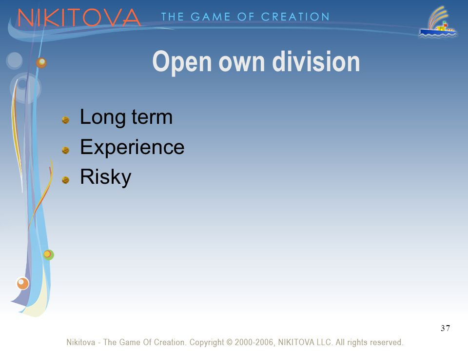 37 Open own division Long term Experience Risky