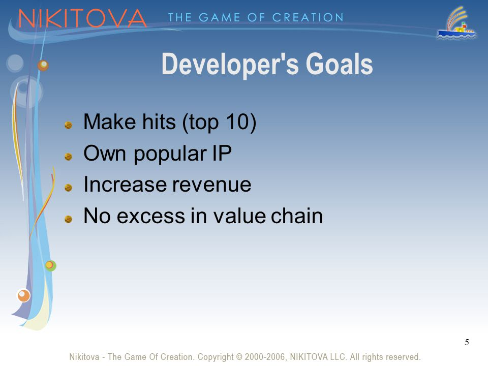 5 Developer s Goals Make hits (top 10) Own popular IP Increase revenue No excess in value chain