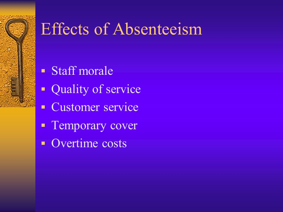 Effects of Absenteeism  Staff morale  Quality of service  Customer service  Temporary cover  Overtime costs