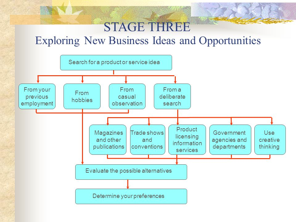 Opportunity Recognition And Assessment  Stage Three Exploring New Business Ideas