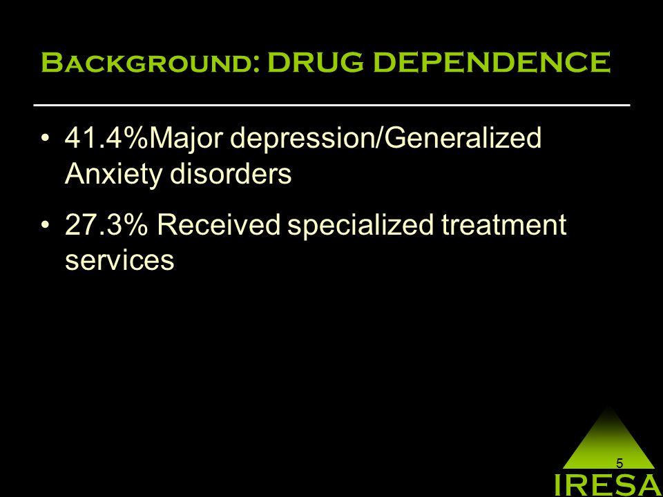 5 Background: DRUG DEPENDENCE 41.4%Major depression/Generalized Anxiety disorders 27.3% Received specialized treatment services