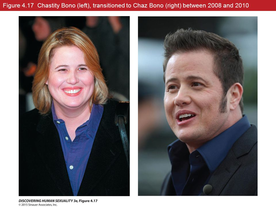 Figure 4.17 Chastity Bono (left), transitioned to Chaz Bono (right) between 2008 and 2010