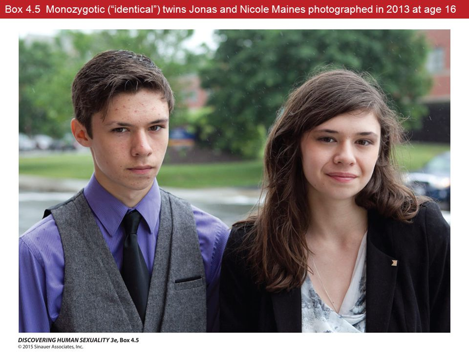 """Box 4.5 Monozygotic (""""identical"""") twins Jonas and Nicole Maines photographed in 2013 at age 16"""