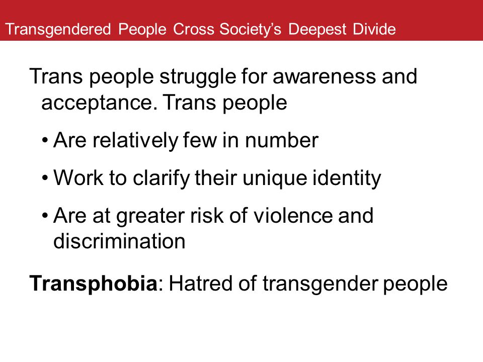 Transgendered People Cross Society's Deepest Divide Trans people struggle for awareness and acceptance. Trans people Are relatively few in number Work