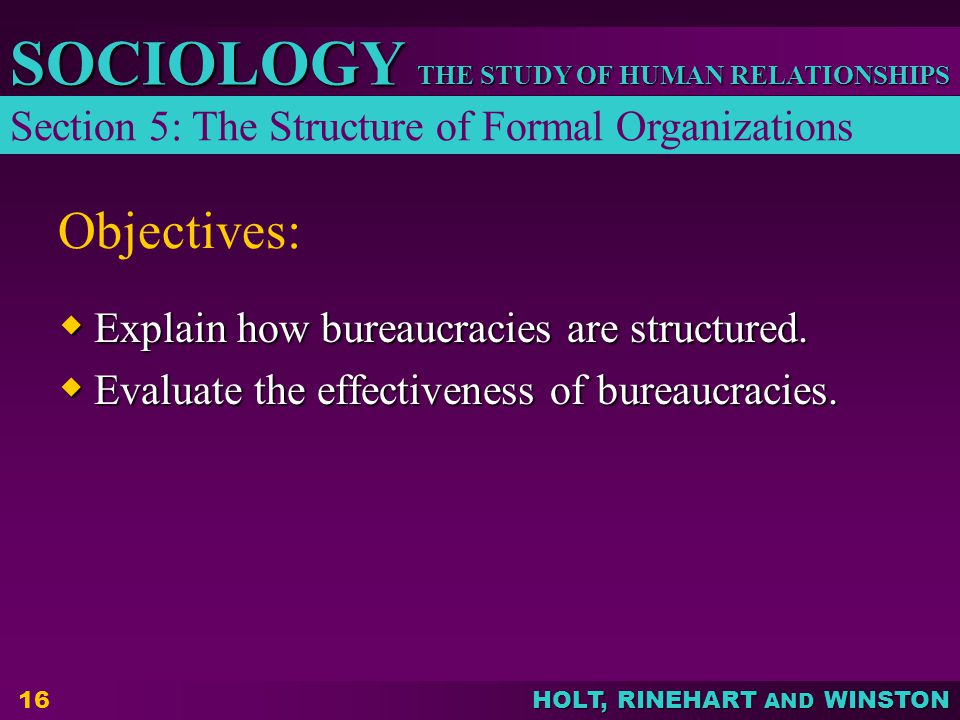 THE STUDY OF HUMAN RELATIONSHIPS SOCIOLOGY HOLT, RINEHART AND WINSTON 16 Objectives:  Explain how bureaucracies are structured.  Evaluate the effect