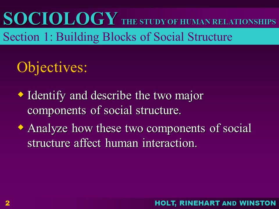 THE STUDY OF HUMAN RELATIONSHIPS SOCIOLOGY HOLT, RINEHART AND WINSTON 2 Objectives:  Identify and describe the two major components of social structu