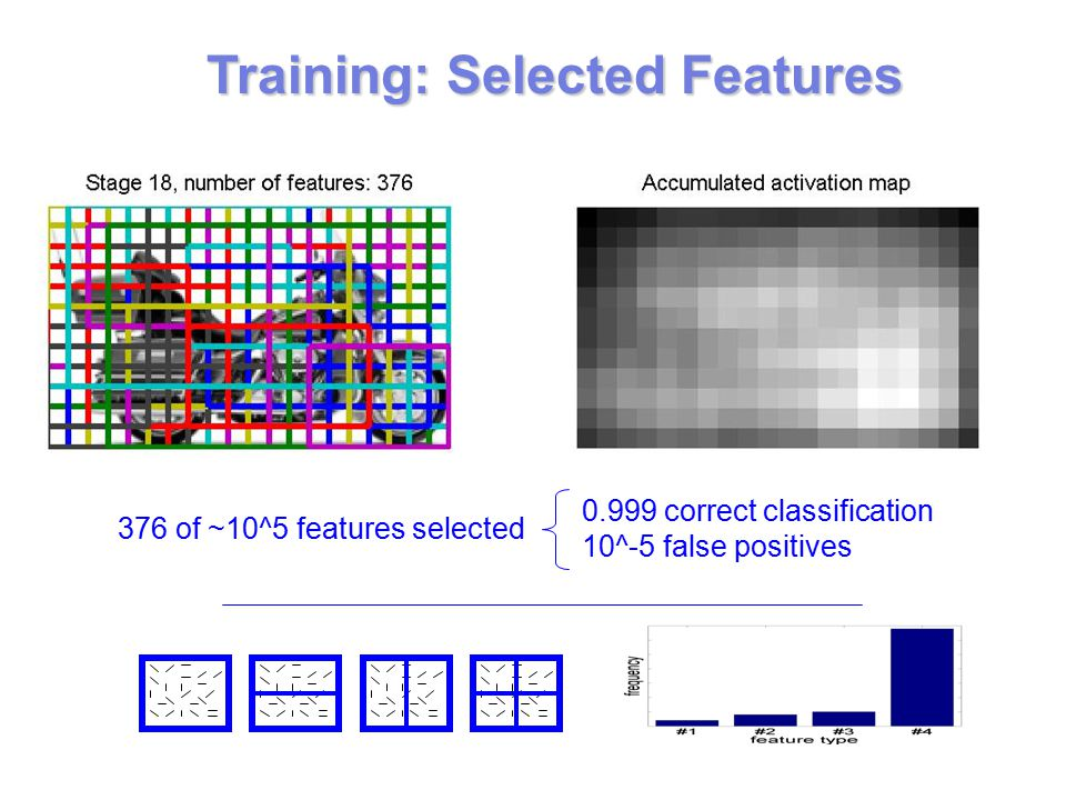 Training: Selected Features 376 of ~10^5 features selected correct classification 10^-5 false positives
