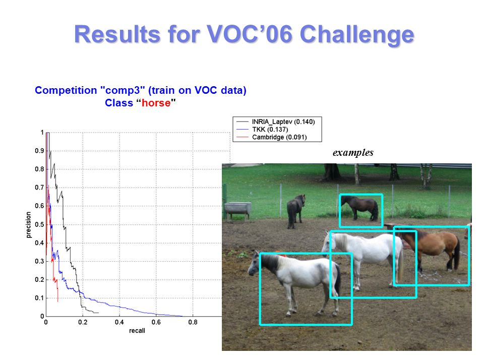 examples Results for VOC'06 Challenge Competition comp3 (train on VOC data) Class horse