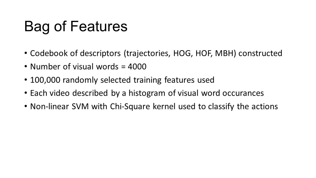 Bag of Features Codebook of descriptors (trajectories, HOG, HOF, MBH) constructed Number of visual words = ,000 randomly selected training features used Each video described by a histogram of visual word occurances Non-linear SVM with Chi-Square kernel used to classify the actions