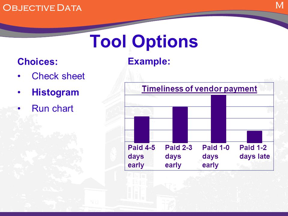 M Objective Data Tool Options Choices: Check sheet Histogram Run chart Example: Timeliness of vendor payment Paid 4-5 days early Paid 2-3 days early Paid 1-0 days early Paid 1-2 days late