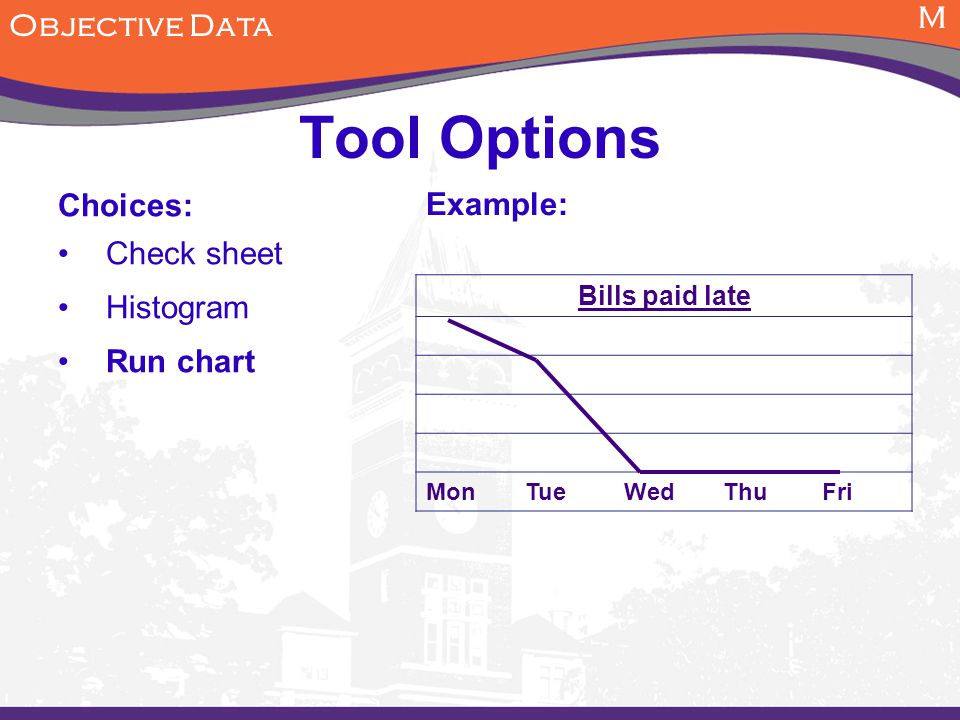 M Objective Data Tool Options Choices: Check sheet Histogram Run chart Example: Bills paid late MonTueWedThuFri