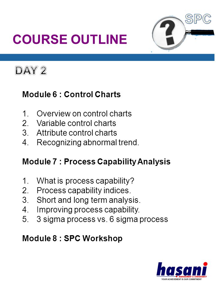 COURSE OUTLINE Module 6 : Control Charts 1.Overview on control charts 2.Variable control charts 3.Attribute control charts 4.Recognizing abnormal trend.