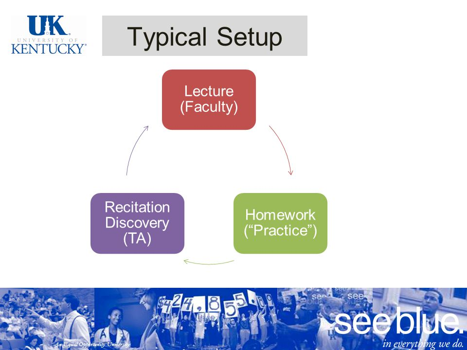 An Equal Opportunity University Typical Setup Lecture (Faculty) Homework ( Practice ) Recitation Discovery (TA)