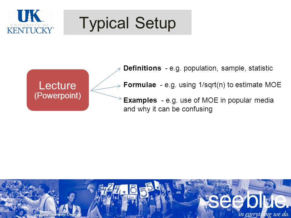 An Equal Opportunity University Typical Setup Lecture (Powerpoint) Definitions - e.g.