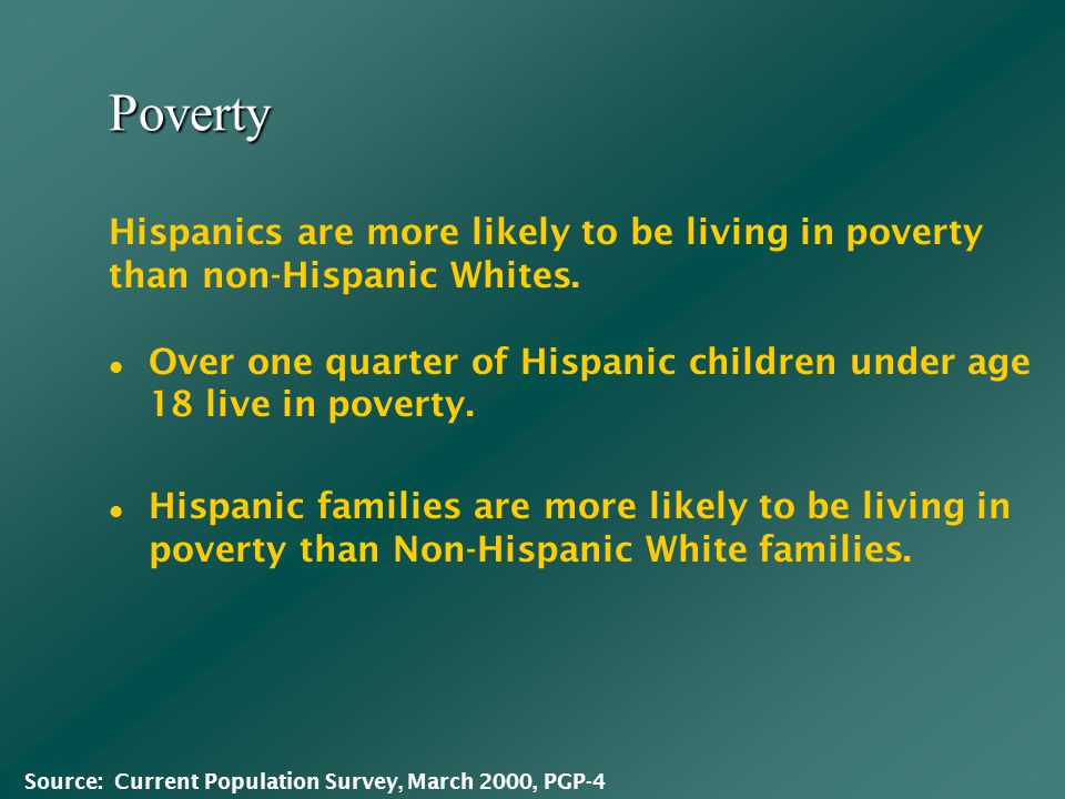 Poverty Over one quarter of Hispanic children under age 18 live in poverty.