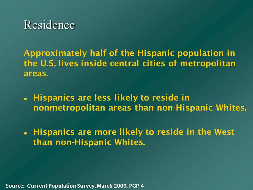 Residence Hispanics are less likely to reside in nonmetropolitan areas than non-Hispanic Whites.