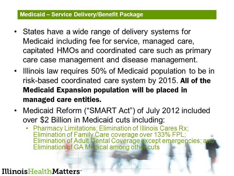 Medicaid – Service Delivery/Benefit Package States have a wide range of delivery systems for Medicaid including fee for service, managed care, capitated HMOs and coordinated care such as primary care case management and disease management.