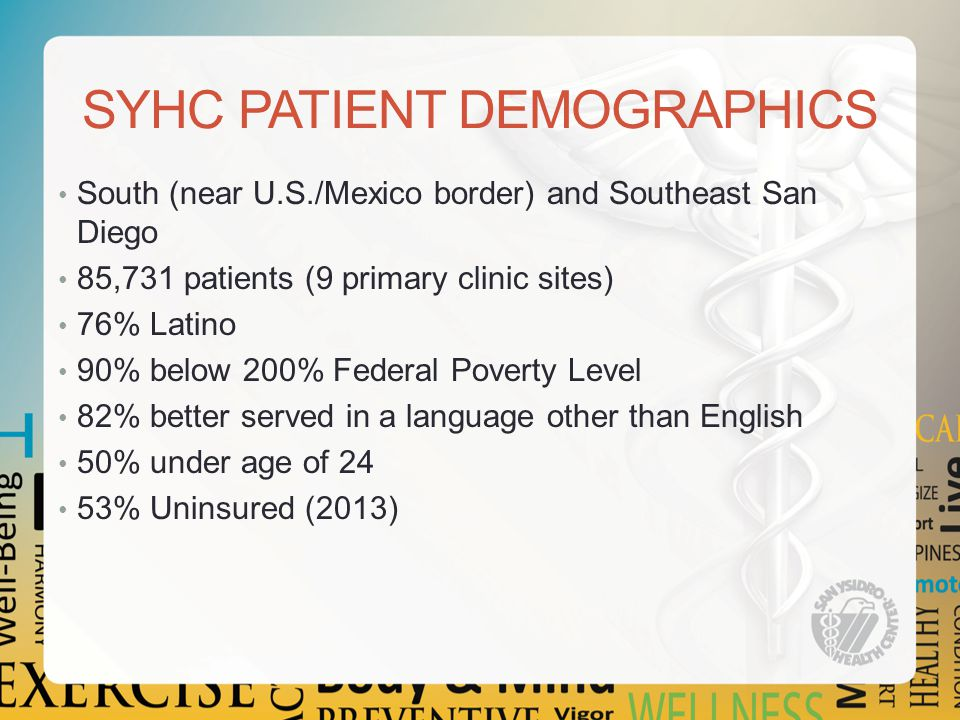 SYHC PATIENT DEMOGRAPHICS South (near U.S./Mexico border) and Southeast San Diego 85,731 patients (9 primary clinic sites) 76% Latino 90% below 200% Federal Poverty Level 82% better served in a language other than English 50% under age of 24 53% Uninsured (2013)