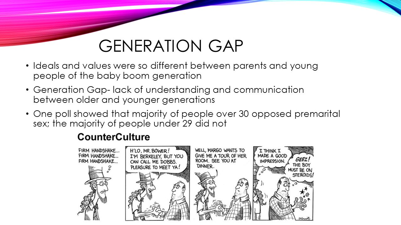 the generation gap during the 1960s Baby boomers find out more about the huge - and hugely influential - generation of americans born during the post-world war ii period between 1946 and 1964.