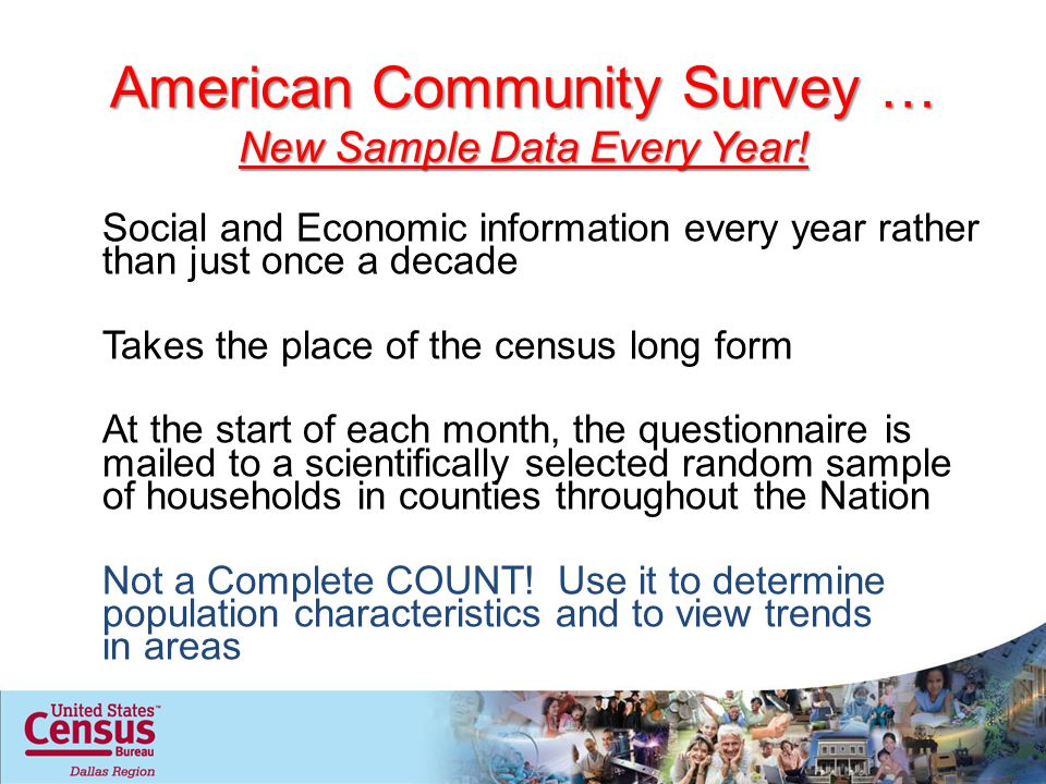 American Community Survey … New Sample Data Every Year.