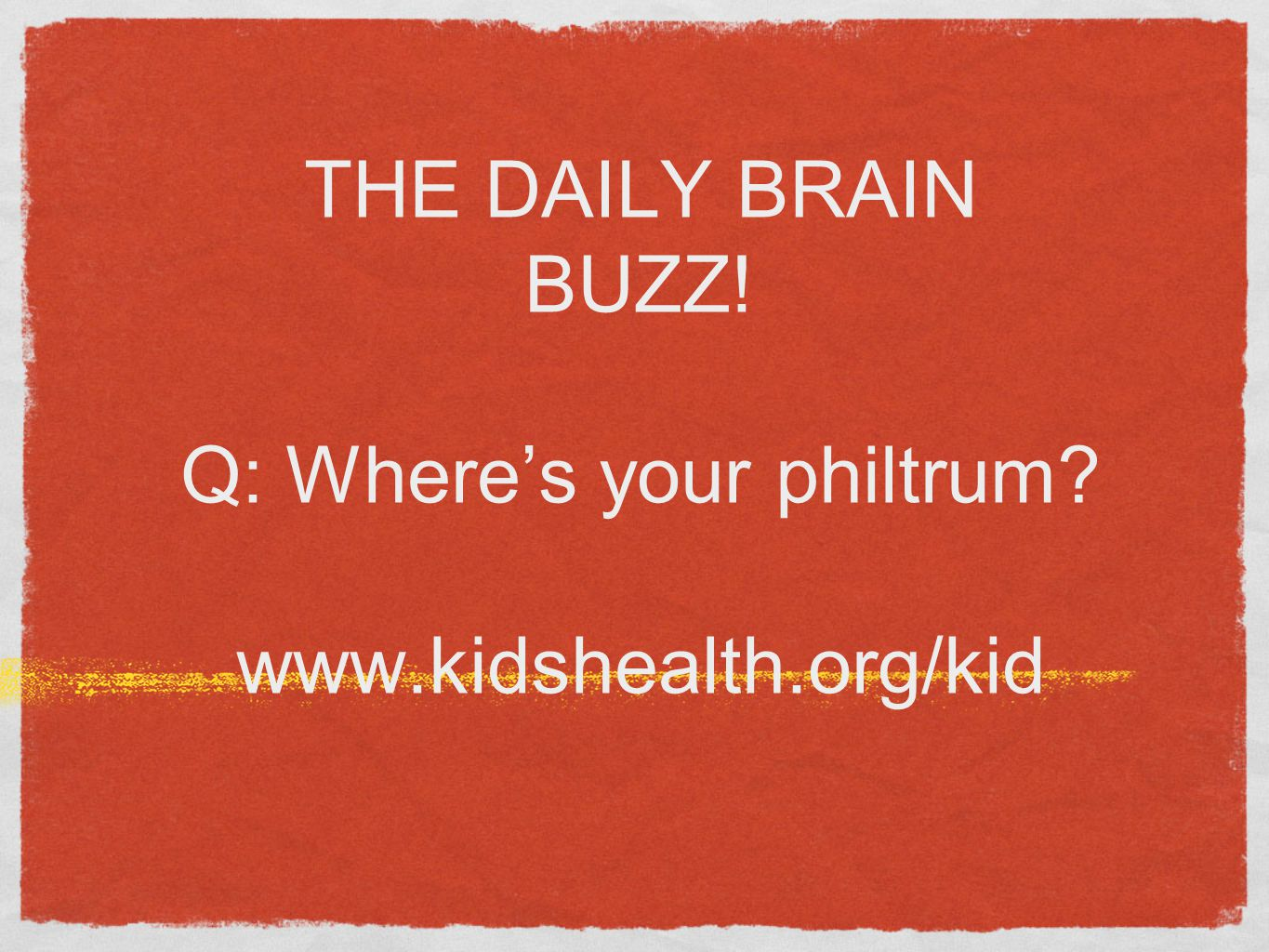 THE DAILY BRAIN BUZZ! Q: Where's your philtrum