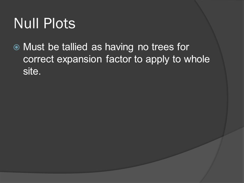  Must be tallied as having no trees for correct expansion factor to apply to whole site.