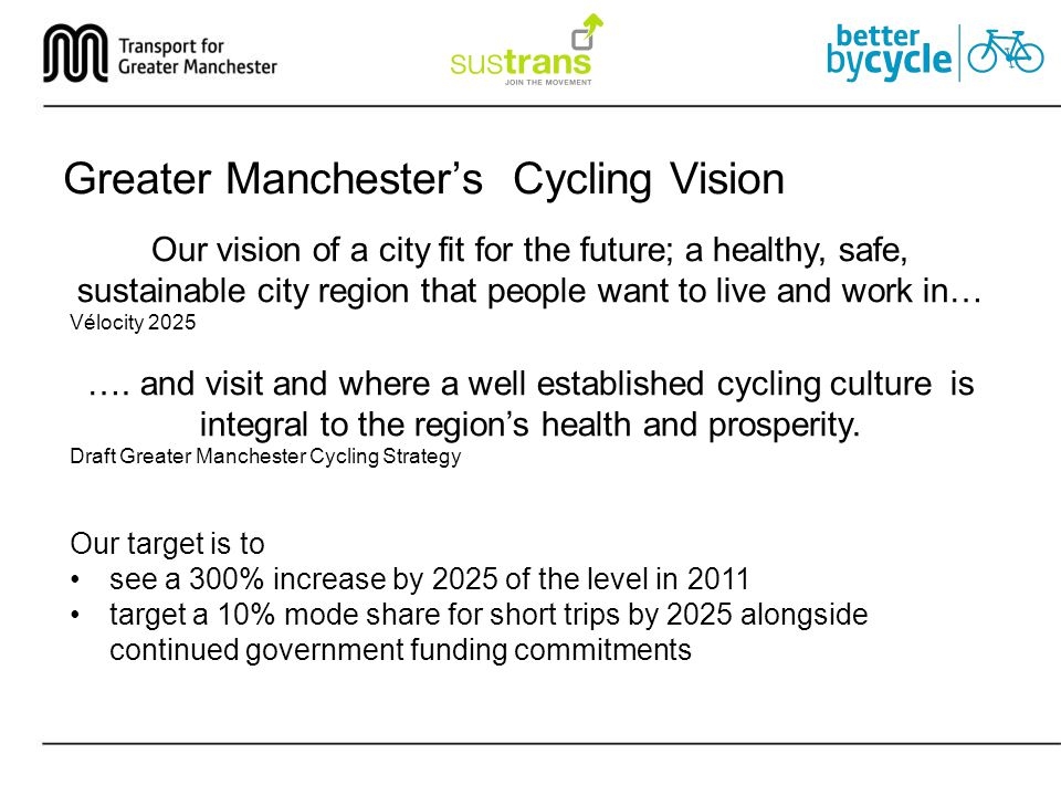 Greater Manchester's Cycling Vision Our vision of a city fit for the future; a healthy, safe, sustainable city region that people want to live and work in… Vélocity 2025 ….