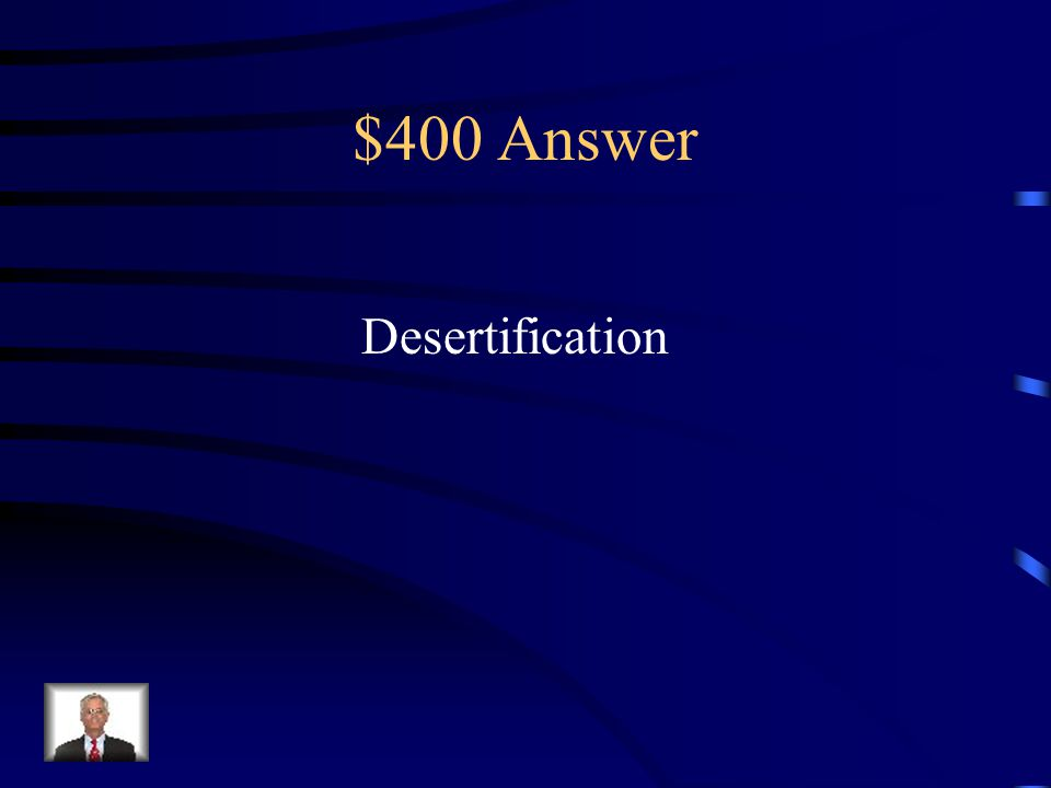 $400 Question from Terms to Know The process in which fertile land is lost, typically as a result of drought, deforestation, or inappropriate agriculture is known as