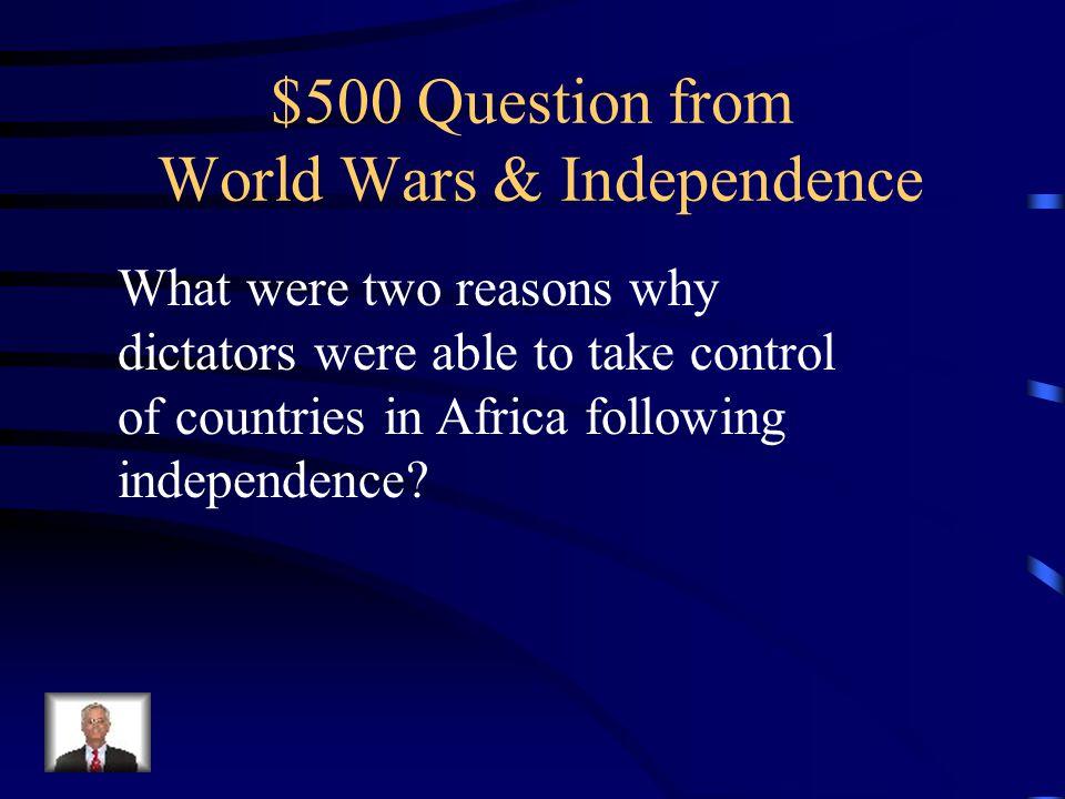 $400 Answer Mobutu Sese Seko