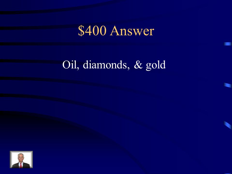 $400 Question from Africa Since Independence What are three major trade goods that Africa provides to the global economy