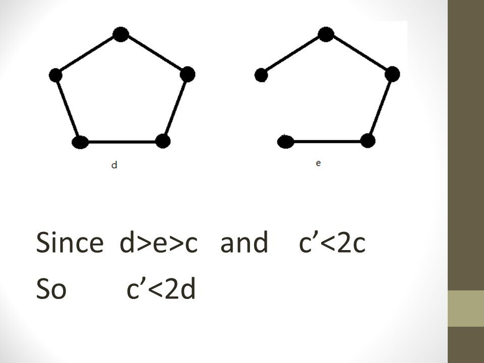Since d>e>c and c'<2c So c'<2d