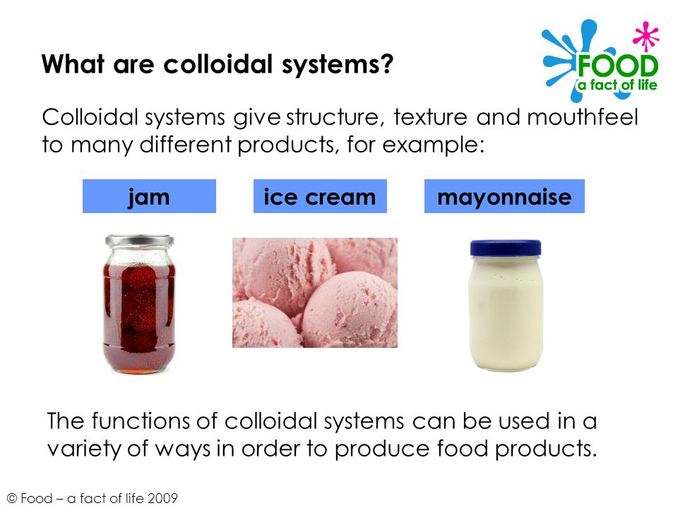© Food – a fact of life 2009 What are colloidal systems.
