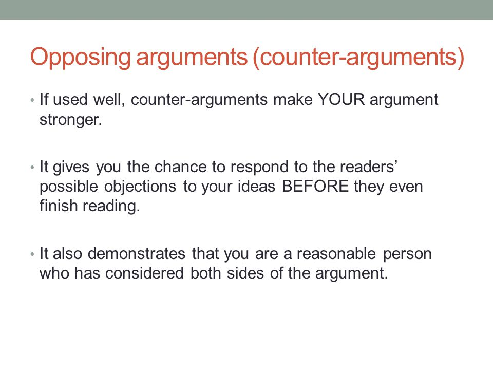 What's the difference between a counter argument and a rebuttal?
