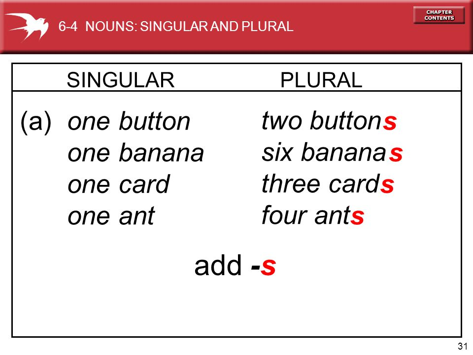 31 SINGULAR PLURAL (a) one button one banana one card one ant two button six banana three card four ant s s s s add -s 6-4 NOUNS: SINGULAR AND PLURAL