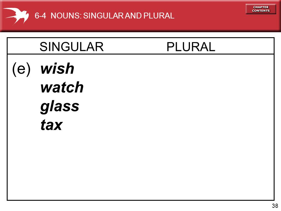 38 (e) wish watch glass tax 6-4 NOUNS: SINGULAR AND PLURAL SINGULAR PLURAL