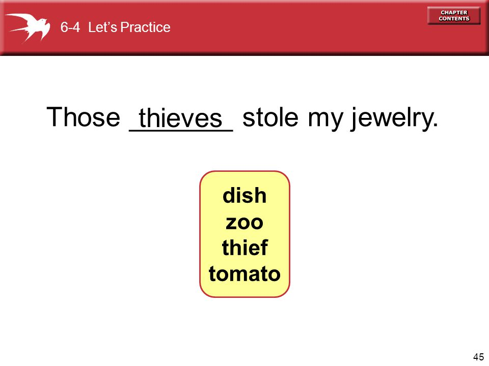 45 Those _______ stole my jewelry. thieves 6-4 Let's Practice dish zoo thief tomato