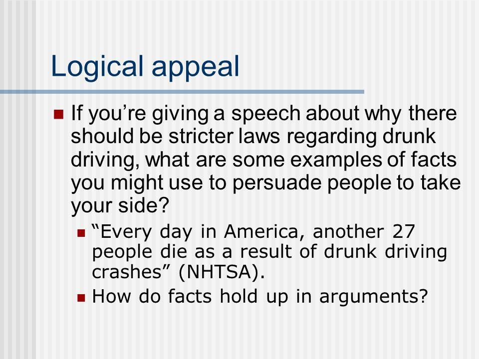 Persuasive drunk driving speech