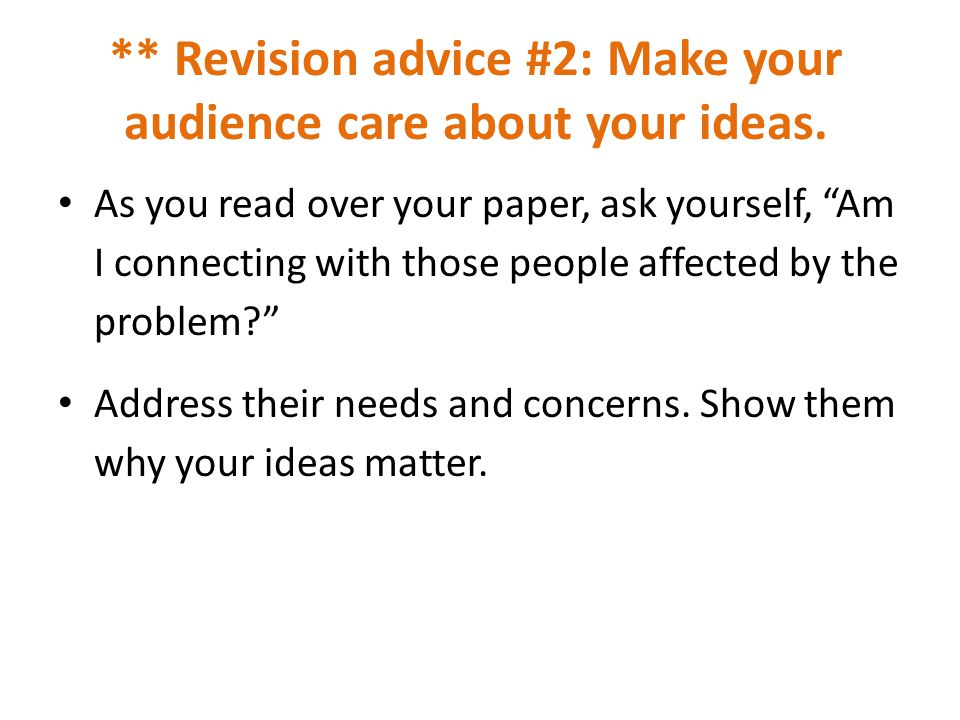 the problem solution essay introductory paragraph choose any revision advice 2 make your audience care about your ideas