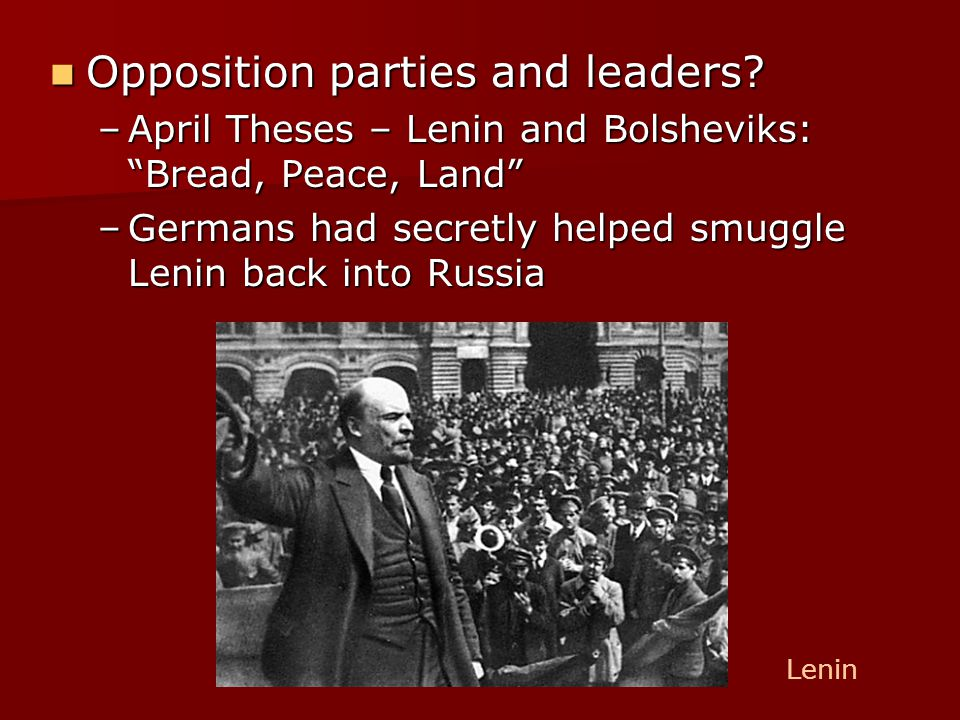 lenin april theses date The april theses (russian: on our attitude towards the state and our demand for a commune state, amendment of our out-of-date minimum vladimir lenin, april.