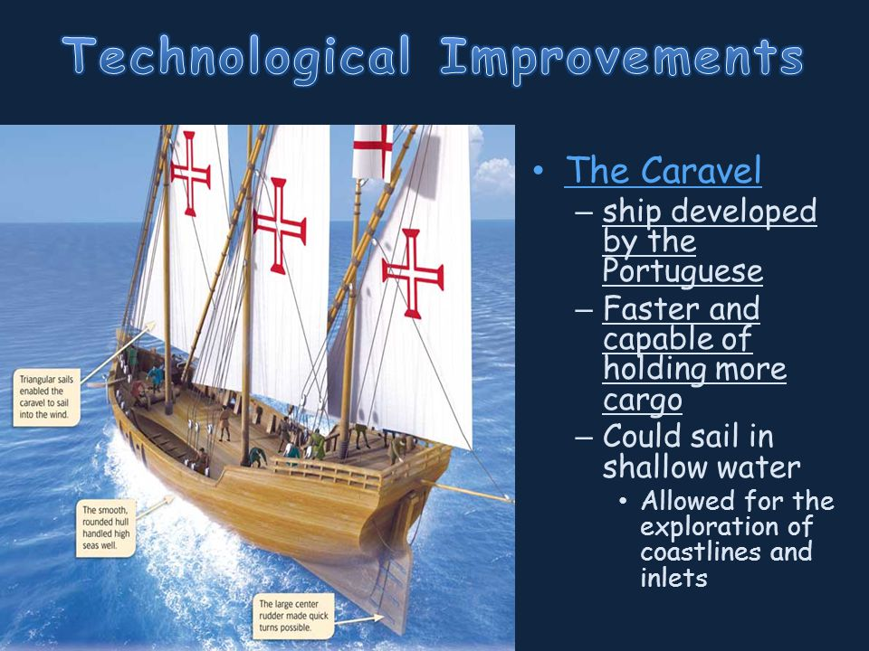 The Caravel – ship developed by the Portuguese – Faster and capable of holding more cargo – Could sail in shallow water Allowed for the exploration of coastlines and inlets